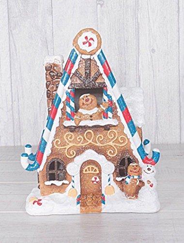 GRAND Noël La neige a couvert Glitter Maison de l'homme en pain d'épice avec la lumière 25cm Grand