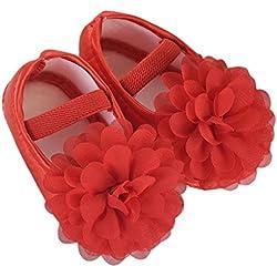 Zolimx Bambino piccolo Ragazza Chiffon Fiore Elastico Banda Scarpe (11CM, rosso)