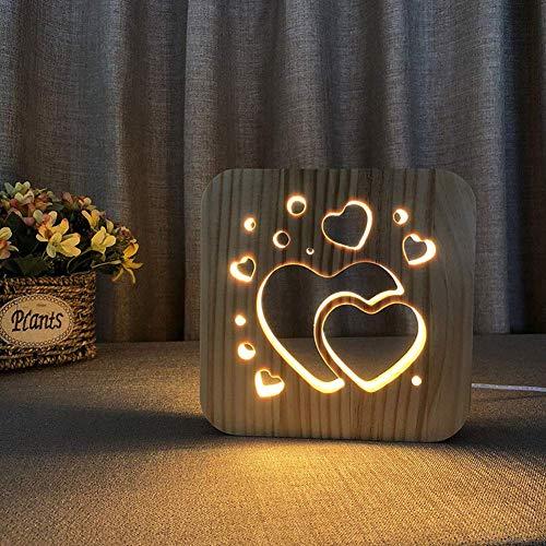 Led nachtlicht usb holz hohl zwei herzen bilderrahmen 3d lampe kreative augenpflege kleine tischbeleuchtung kinder erwachsene schöne geschenke hause schlafzimmer dekorative spielzeug, warmweiß