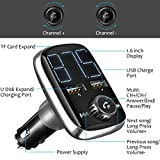 (New Version) Bluetooth FM Transmitter, Wireless Car Radio Adapter Bluetooth 4.2 Receiver, Dual-USB Charger with 5 V/ 3.4 A Output, Hands-Free Calling, U-disk/ TF Card/ AUX MP3 Player Car Kit