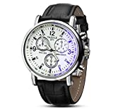 JACKY Men's Faux Leather Blue Ray Glass Quartz Analog Watches Black