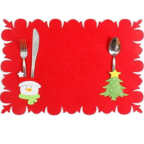 sudook 2PC Santa Claus Kostüm Tisch Matte Muster Dinner Party Messer Gabel Tischset Weihnachten Dekoration für Home Party oder Bar color3