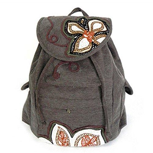 Vento nazionale retrò di borse a tracolla in tela studente zaino borsa sportiva, di riso bianco Rice White