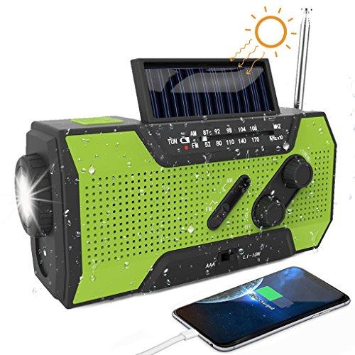 Led-kurbel-taschenlampe (Solar Radio SAPE AM/FM Solarradio mit Kurbel Kurbeldynamo 3W LED Taschenlampe 2000MAh Power Bank Notfall Ernstfall USB Handy Ladegerät für Camping Outdoor Grün)