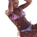 QingJiu Frauen Floral Bikini Set Push-Up Gepolsterte Badeanzug Badebekleidung (Pink, Small)
