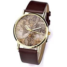 Better Dealz VINTAGE Weltkarte Uhr Lederausstattung Leichtmetall Damen Analoge Quarz Armbanduhr