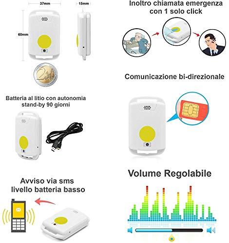 Telesoccorso GSM Anziani Pulsante SOS Batteria Lunga Autonomia Teleallarme Telesalvalavita Chiamata Emergenza Medica Salvavita Help Alarm GSM
