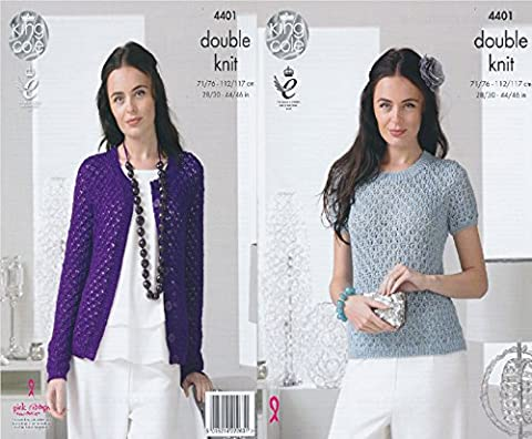 King Cole Ladies Double Knitting Pattern Womens Lace Effect Sweater & Cardigan Glitz DK (4401)