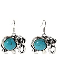 Young & Forever Mothers Day Gifts Boho Gypsy Collection Turquoise Stone Elephant Drop & Dangle Earring For Girls...