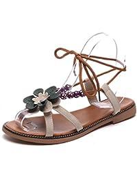MHX Zapatos de Mujer de Verano Nueva Versión Coreana de los Estudiantes Planas Romano de un Botón Correa Cruzada Salvaje Sandalias de Tacón bajo (Color : Beige, Tamaño : 39)