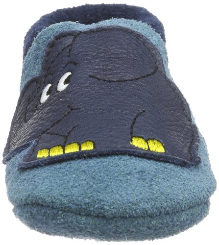 Pololo Elefant Unisex-Kinder Flache Hausschuhe Blau (tobagoblau 715)