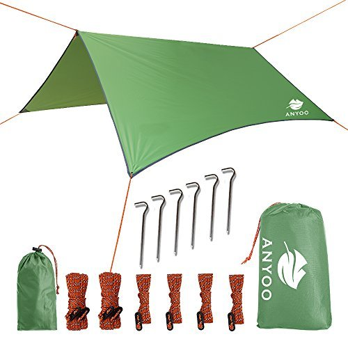 Anyoo telone in nylon ripstop da spiaggia anti-pioggia tenda parasole per amaca 3 × 3 mt. copertura impermeabile leggera da campeggio ed escursionismo