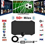 TV Aerial,Firmrock 80 Miles Digital HDTV Antenna with Amplifier Signal Booster TV Radius