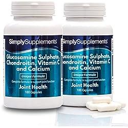 Glucosamina, Condroitina, Vitamina C y Calcio - ¡Bote para 6 meses! - 360 Cápsulas - SimplySupplements