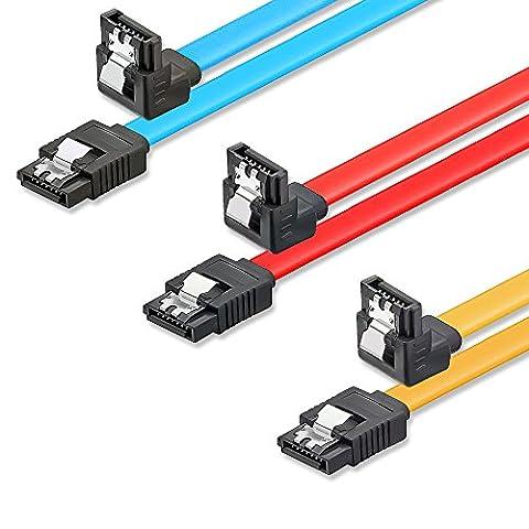 SET - 3x deleyCON [0,5m] S-ATA 3 Winkel-Kabel - PREMIUM SATA 3 HDD / SSD Datenkabel mit Clip - 1x Stecker gerade zu 1x Stecker 90° - Übertragungsraten bis zu 6 GBit/s - Länge: 50cm -