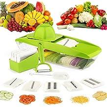 Cortador de verduras, Coolife Mandolina 8 en 1 Máquina de Cortar los Alimentos, 5 Afiladas Cuchillas de Corte Intercambiables de Acero Inoxidable, Un Protector para Las Manos, Un Cepillo y Un Pelador