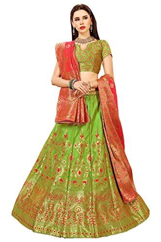 Surupta Green Color Banarasi Silk Designer jaquard Party Wear Lehenga Choli
