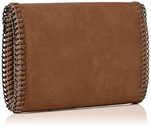 SwankySwans Damen Winona Chain Faux Leather Clutch Bag Tan Tasche Braun (Tan)