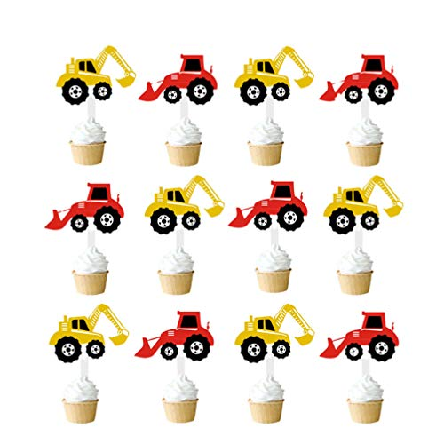 Amosfun 48 piezas de decoración para cupcakes de camión de construcción para...