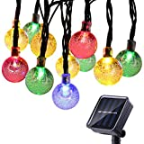 LJS-BQ Outdoor Solar Lichterketten, wasserdicht 20ft 30 LED Kristallkugel Solarbetriebene Globe Fairy String Licht für Garten Garten Haus Urlaub Party Dekoration - Weihnachten,Colored