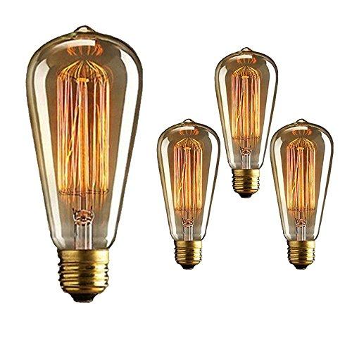 Set of 3 ST64 Vintage Light Bulb Retro Old fashioned Edison Style E27 40W Incandescent Edison Style Bulb Squirrel Cage Tungsten Filament Glass Antique Lamp 220V