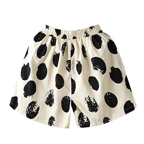 WOZOW Shorts Kurze Hose Damen Bettwäsche Baumwolle Casual Lose Polka Dots Print Bedrucktes Druck Zweifarbig Mini Freizeithose Stoffhose A Line Mode Pyjama Trousers (4XL,Schwarz Dots) - Leder-low Rise Flare Jeans