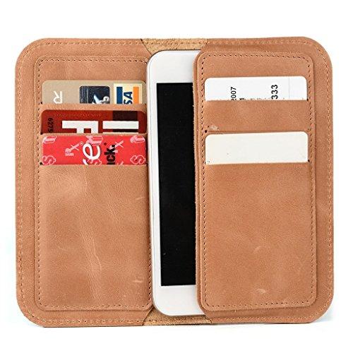 Étui portefeuille en cuir véritable pour Gigabyte GSmart T4(Lite édition) pour Marron - marron Brun - peau