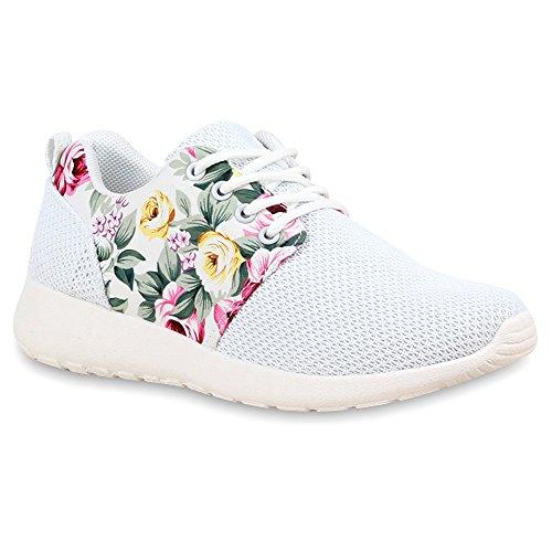 Damen Sportschuhe Muster |Laufschuhe Runners | Sneakers Schuhe Strass Metallic Weiss Muster