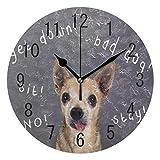 Use7 Home Decor Wanduhr, Motiv: Hipster Hund vor Kreidetafel, rund, Acryl, Nicht tickend, geräuschlose Uhr, Kunst für Wohnzimmer, Küche, Schlafzimmer
