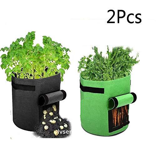 SLKQQQIQ Pflanzen Tasche, Kartoffel-Grow-Beutel, Gartenpflanzen-Anbau-Gemüse-Pflanztöpfe mit Griffen für Kartoffel-Karotten-Tomaten-Zwiebeln 2er Pack (groß)