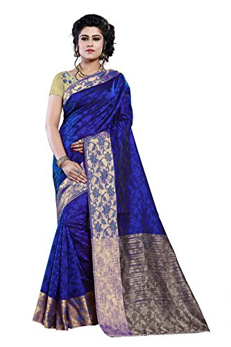 Arawins Ethnic Women's Clothing Exclusive Designs in Blue Jacquard Cotton Silk Half...