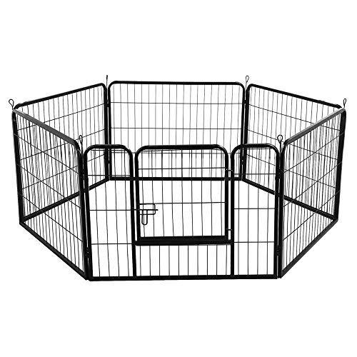 Yaheetech recinto per cani cuccioli conigli gatti animali da interno e esterno giardino rete recinzione ferro (6 pz 60 x 80 cm)