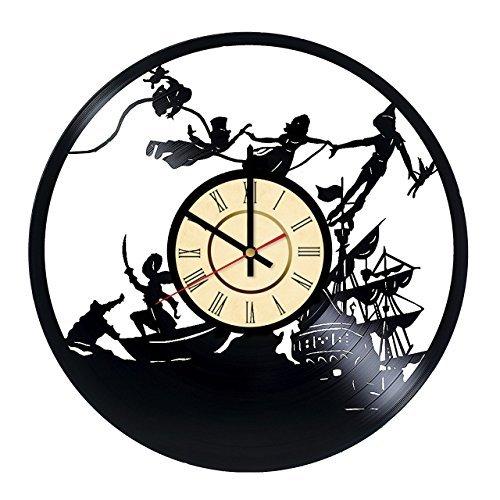 Fun Door Lustige Peter Pan Wanduhr aus Vinyl, handgefertigt, für Geburtstag, Hochzeit, Jahrestag, Valentinstag, Mutter-Ideen für Männer und Frauen