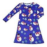 Girls Cute Dress, Transer® Baby Girls Lovely Princess Dress 1-9 Years Infant Christmas Snowman Print Dress Toddler Kids Long Sleeve Swing Dresses (3-5 Years, Blue)