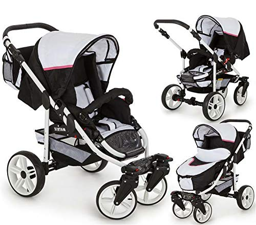 SaintBaby Stroller Pram Pushchair 2in1 3in1 Set All in one Baby seat Buggy X-Move GO White & Pink 3in1 with Baby seat SaintBaby 3in1 or 2in1 Selectable. At 3in1 you will also receive the car seat (baby seat). Of course you get the baby tub (classic pram) as well as the buggy attachment (sports seat) no matter if 2in1 or 3in1. The car naturally complies with the EU safety standard EN1888. During production and before shipment, each wagon is carefully inspected so that you can be sure you have one of the best wagons. Saintbaby stands for all-in-one carefree packages, so you will also receive a diaper bag in the same colour as the car as well as rain and insect protection free of charge. With all the colours of this pram you will find the pram of your dreams. 6