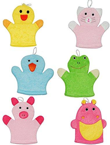 3 Stück: 2 in 1: Waschhandschuh + Handpuppe - verschiedene Tiere / für Kinder & Erwachsene - Handspielpuppe Handpuppen - Baby - Waschlappen zum Spielen und Waschen / Tier - Badewanne - Ente Frosch Katze Pinguin Schwein Nilpferd (Tier-waschlappen)