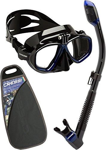 Cressi Action Set - Professional Erwachsene Schnorchelset, Tauchmaske Action & Schnorchel Dry mit Angriff Action-Cam