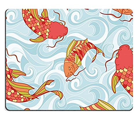 MSD Natural Rubber Mousepad IMAGE ID: 13554228 Colorful fish in the sea waves hand drawing seamless