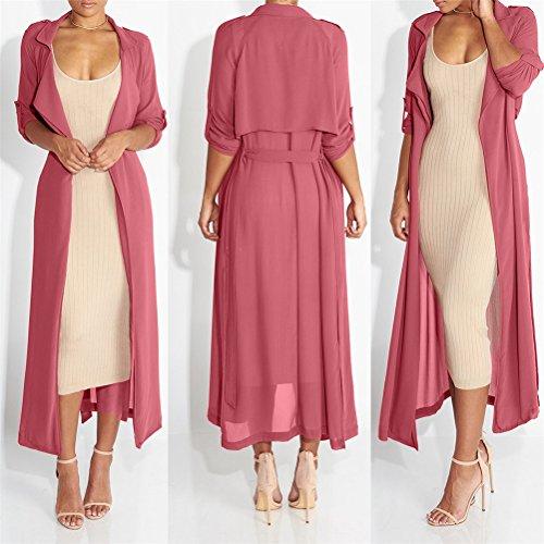 Manteau ceinture manches Womens Sexy taille longue en mousseline de soie Cardigan longue en mousseline de soie shirt Rose
