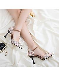Punta Del High-Heel singles femeninos Zapatos Zapatos compacto y elegante y versátil, Beige 9 cm 34