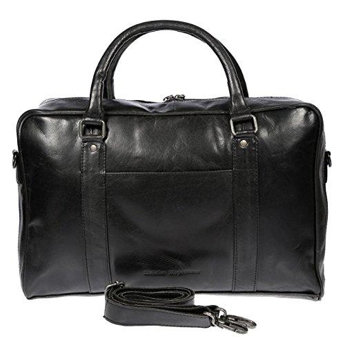 Christian Wippermann große Aktentasche Laptoptasche 15.6 Zoll aus echtem Leder mit TÜV geprüftem RFID Schutz Schwarz -
