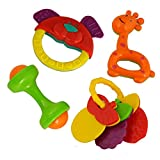 #9: Tablor™ Non Toxic Rattle Set With Teether Set of 4 Pieces for Infants and Toddlers - Multi color