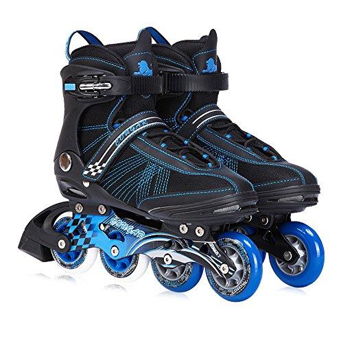 Sunkini Klassische Rollschuhe Herren Racing Skates Inline Skate ABEC-9 Lager Reise Urban Outdoor für Erwachsene (Color : Black+Blue, Größe : 42) -