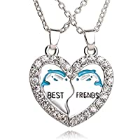 PC/Set Dolphin Animal Necklaces Love Crystal Heart Pendant Charm Chain Best Friend BFF Gifts Necklace Friendship Jewelry