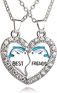 PC/Set Dolphin Animal Necklaces Love Crystal Heart Pendant Charm Chain Best Friend BFF Gifts Necklace Friendsh