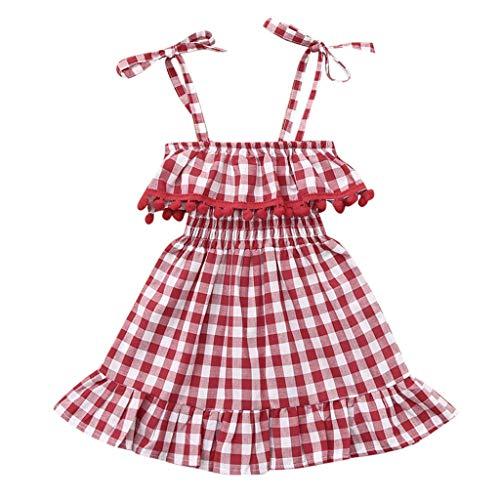 (Mädchen Kinderkleidung, YanHoo Junge Kinderkleidung Mädchen Hosenträger Gürtel Quaste Karierten Rock Prinzessin Kleid Kinder Ärmelloses Sling Kariert Fransen Frill Princess Kleid)
