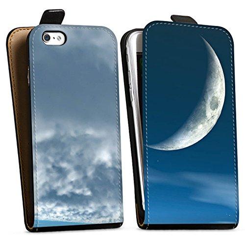 Apple iPhone X Silikon Hülle Case Schutzhülle Himmel Mond Wolken Downflip Tasche schwarz