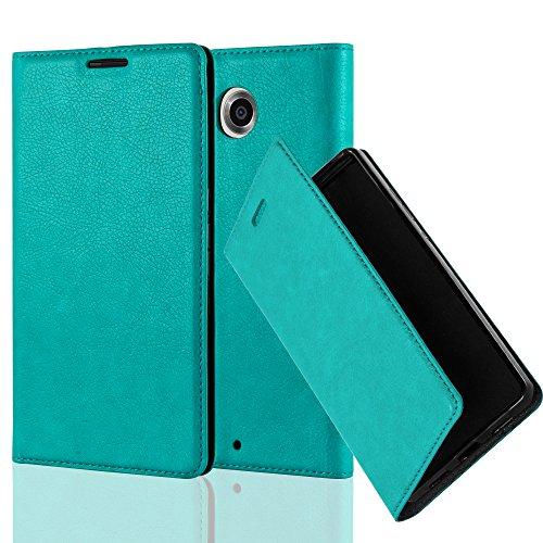 Cadorabo Hülle für Lenovo Google Nexus 6 / 6X - Hülle in Petrol TÜRKIS – Handyhülle mit Magnetverschluss, Standfunktion und Kartenfach - Case Cover Schutzhülle Etui Tasche Book Klapp Style