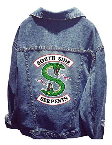 Riverdale Southside Serpents Jacke Damen, Teenager Mädchen Mode Denim Jacket Coole Jeansjacke Pullover Frauen Denim Winterjacke Sweatshirt Jäckchen Tops Mantel Outwear Pulli Shirts (2, Free Size)