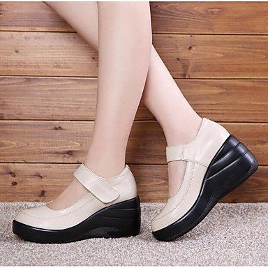 zhENfu Women's Sandals Spring Comfort PU Casual Beige Black Beige